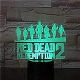 3D Night Light Marvel Game Red Dead Redemption Night Light Gift Decoración del hogar Accesorios Países Bajos Van Der Linde LED Light Decoración del dormitorio