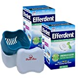 Efferdent Mint Fresh and Clean Denture Cleanser, 252 Tablets Bundle with Dentu-Care Denture Cleaning Cup Case Bath With Basket Lid for Maintaining Good Oral Care for Full Partial Dentures