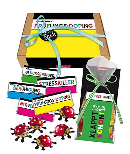Prüfung Geschenk Geschenkbox Glücksbringer Stresskiller Geschenkset STEINBECK Schokolade süß Viel Glück Mitgebsel Abitur Nervenschoner Klausuren Führerschein Geschenkkorb