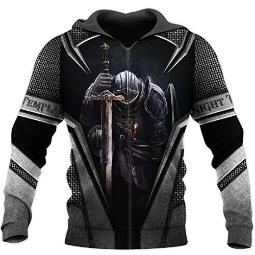 Tempelritter Jesus Gott Wache Kavalier Herbst Pullover Streetwear 3D Druck Reißverschluss/Hoodies Zip 4XL