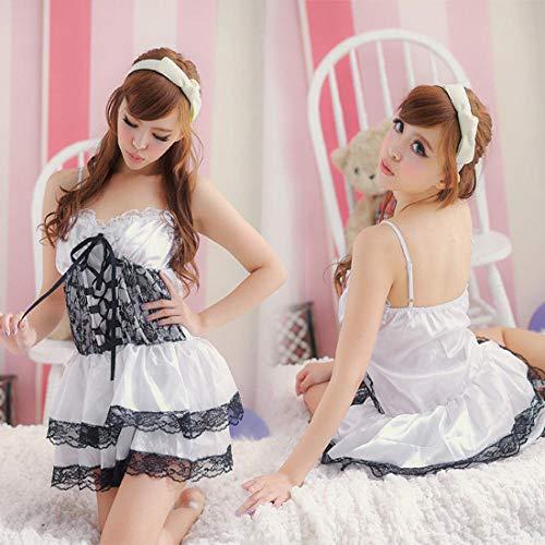 Corsés para mujer Conjuntos de lencería para mujer Barbie princesa vestido princesa vestido discoteca sexy disfraz uniforme tentación etapa vestido cuello baile pole dance 20100-blanco