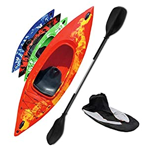 Riber One Person Sit In Kayak Starter Pack- Ideal for Beginners - Multiple Colours (Red & Yellow)