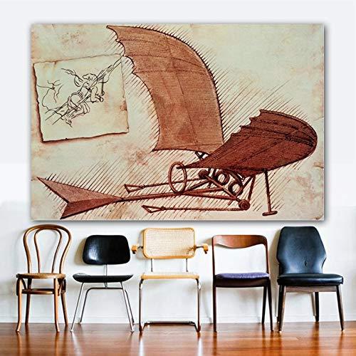 Leonardo Da Vinci Flying Machine Wall Art Abstract schilderij foto's canvas giclee print op canvas voor woonkamer 60x90cm