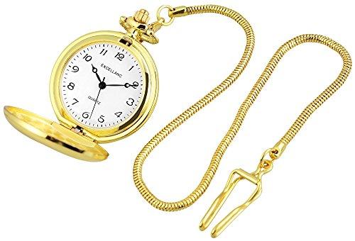 Excellanc Analog Taschenuhr mit Quarzwerk und Hakenverschluss 481002000004 Goldfarbiges Gehäuse im Maße 42mm x 12mm mit Ziffernblattfarbe Weiß und Mineralglas