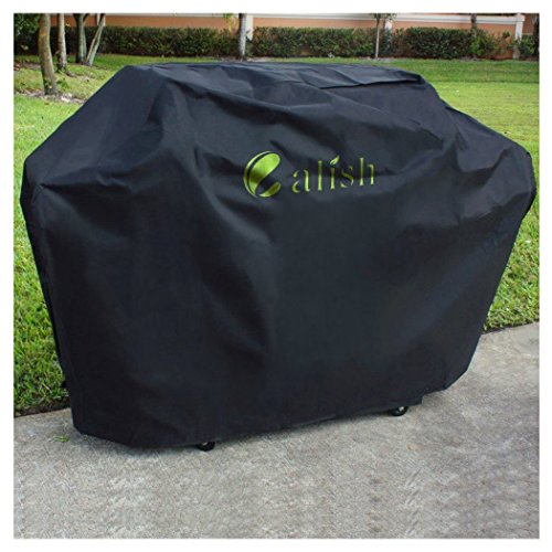 Calish Barbecue Cover Heavy Duty Waterproof Breathable Oxford fabric Extra Large 171.5cm (Black)