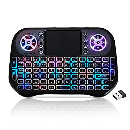 GECEN Mini-Wireless-Tastatur,Wireless Mini Keyboard,7 Farben RGB Backlit Tastatur, 2.4G Rechargeable Controller Maus Combo, Kompatibel mit PC, Laptops, Smart TVs.
