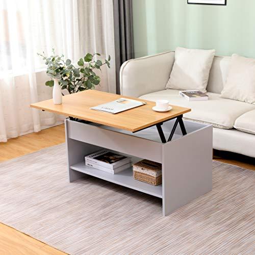 KingwudoModern Lift Top up Coffee/Tea/Sofa Table with Blttom Storage Shelf Living Room Furniture Black/Grey (Grey+Oak—Style 2)