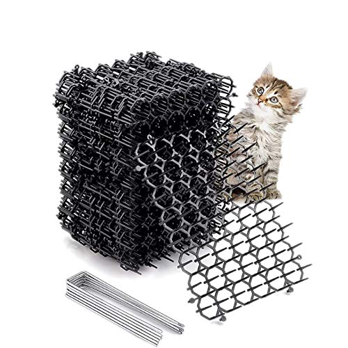 Fuyamp 12 Sheets Cat Scat Mat with Spikes, Pet and Dog Deterrent Prickle Mat for Garden, Porch, Home, Anti Cat Mat Indoor Outdoor Mat for Garden, Fence
