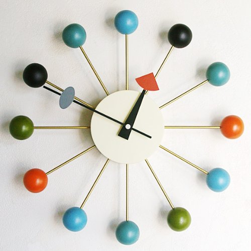 ジョージ・ネルソン ミッドセンチュリー 掛け時計「ボールクロック」 (KC-GN13397) カラフル (01)