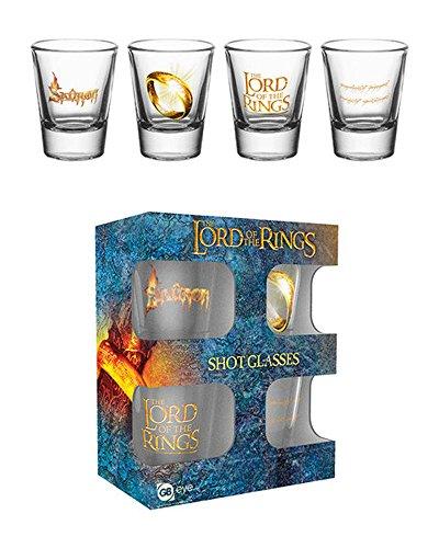 empireposter Lord of The Rings, Der Herr der Ringe 4-er Set Schnapsgläser Mini Gläser je 2 cl, Höhe 6 cm Ø 5 cm