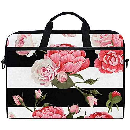 Peony Roses With Black & White Stripes Laptop Case Bag Sleeve Portable/Crossbody Messenger Briefcase Convertible W/Strap Pocket For Macbook Air/Pro Surface Dell Asus Hp Lenovo,14-14.5 Inch