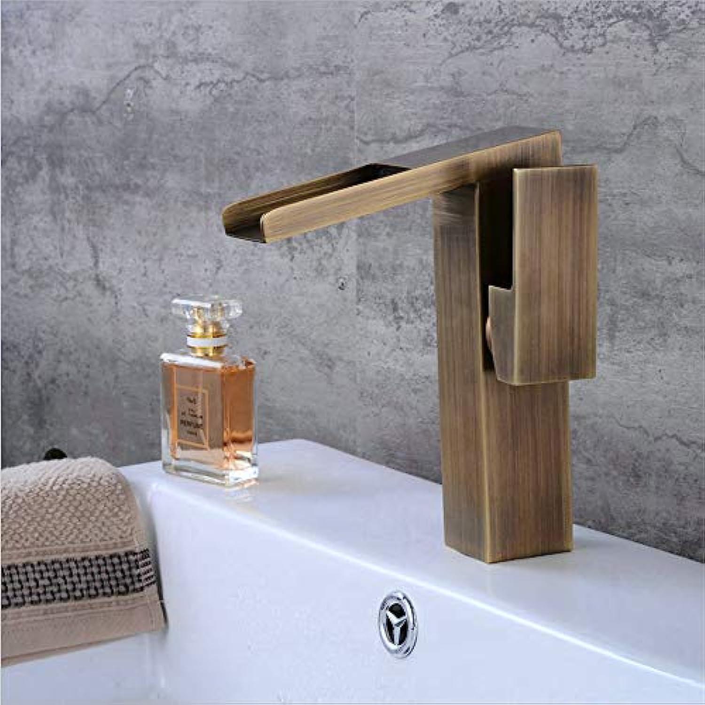 HXYL Badarmaturen, Becken Wasserhahn Wasserfall Waschbecken Mischbatterie Einhand Einloch, Abgeschrgte Antike Kurz