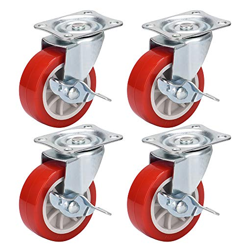 DICASAL 3 Inch Durable Heavy Duty Casters Wear Resistant Red PVC Material Swivel Wheels Castors for Furniture Carts and DIY Tools 4 Pack