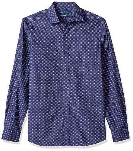 BUTTONED DOWN Men's Tailored Fit Spread-Collar Dress Casual Shirt, Navy Blue Geo, Medium