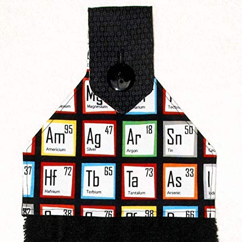 Hanging Bath Hand Towel - Periodic Table - Chemistry - Science - Nerd - Geek - Red & Black Bathroom Decor