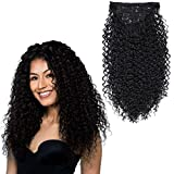 BHF 26 inch Curly Clip In Hair Extensions, 140g Double Weft Full Head Heat Resistance Synthetic Hair Extension For Women 7pieces (#1B)