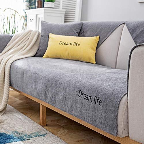 schonbezüge Couch,Sofa Dämpfung,Möbelschutzfolie,Garten Outdoor Couch Schonbezug,Chenille rutschfeste 2/3/4 Sitzer Sofa Handtuchbezug,Stoff Sofa Protector Covers-grau_90 * 120 cm-Verkauft in stück