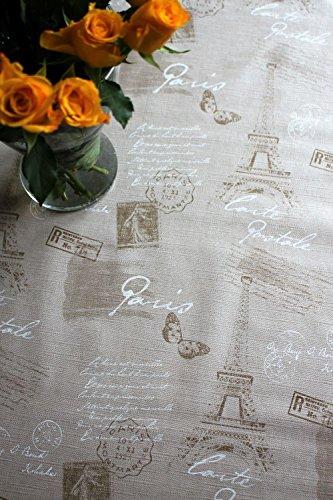 Mantel de hule con relieve, diseño de París, se limpia con un paño, 140x 200cm, color beige