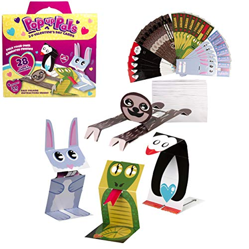 Valentine's Day Pop-Up Pals 3D Animated Cards (28 Pack+Envelopes) - Includes 4 Unique Foldable Animal Valentines w Fun Movable Puppet Actions - Make Card Gift Exchanges for Kids, Boys, Girls, School and Class