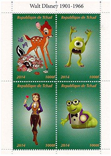 Classico Disney e Monsters Inc. collectble foglio di francobolli in miniatura con Bambi e Mike Wazowski / 2014 / Ciad / 1000F / MNH