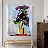 YuanMinglu Cabeza de Mujer Cuadro de Lienzo de Pintor Abstracto Moderno hogar Arte de la Pared Pintura al óleo póster Cuadro sin Marco Pintura 30x37 cm