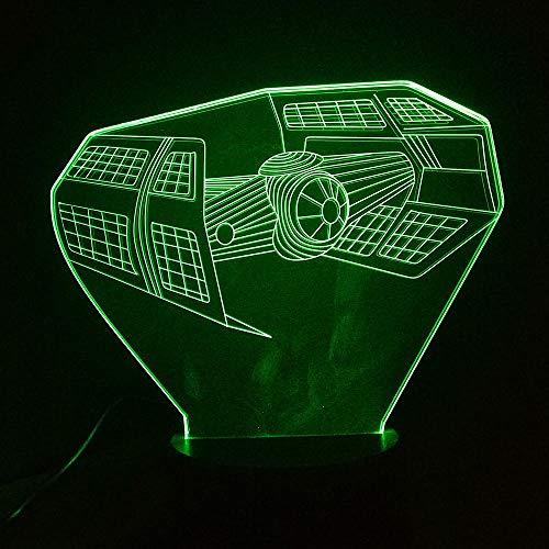 Luz nocturna 3D con diseño de barco de batalla en 3D, ilusión 3D, con interruptor de 7 colores, USB 3D, lámpara de escritorio, lámpara de ambiente para niños