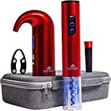 EXCITINGIFT Wine Gift Set with Electric Wine Bottle Opener, Aerator and Pourer, Reusable Vacuum Stopper, Foil Cutter, and EVA Storage Bag, Rechargeable and Automatic (red)
