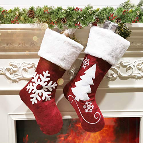 SupMLC Christmas Stockings, 2 Pcs 18 inches Christmas Stockings, Burlap with Large Plush Cuff Stockings, for Family Holiday Xmas Party Decorations