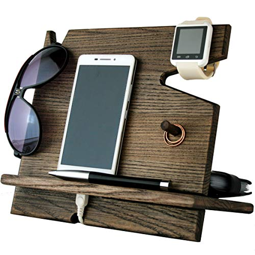 BarvA Wood Dock-ing Station Cell-Phone Smart-Watch Holder Men Charging Accessory Father Night-Stand Mobile Gadget Desk-top Organizer Dresser Wallet Storage Adult Anniversary Birth-Day Graduation Gift