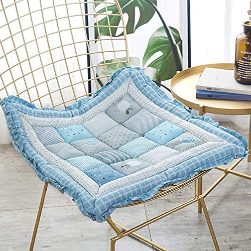 LTHDD Cojín de asiento 100% algodón, acolchado sólido para silla de patio, almohadillas ultra suaves que reducen la presión no resbaladiza, para interior y exterior, azul 48 x 48 cm