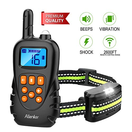 Allenker Shock Collar for Dogs, Dog Shock Collar with Remote Up to 2600Ft Range 100% Waterproof with Beep Vibration Static Shock - 0~16 Levels Adjustable Dog Training Collar with Remote