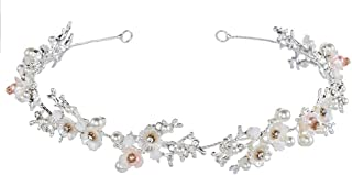 Bridal Daisy White Flower Crystal Pearl Headband Hair Vine Rhinestone Tiara Girl Crown Elegant Women's Wedding Sweet Hair Accessories Adjustable+Hair Clip