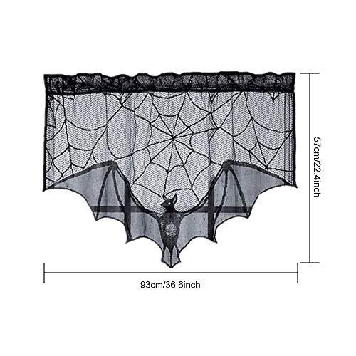 Jodimitty Halloweendeko Set Handtücher, Vorhänge, Kaminhandtücher, Bildschirme Spinnweben Spinnennetz Decke für Kamin Tür Karneval Halloween Party Grusel Deko