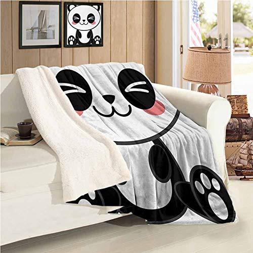 Anime Coperta da Viaggio Doppia Dimensione Carino Fumetto Sorridente Panda Divertente Animale Tema Giapponese Manga Bambini Teen Art Stampa per Famiglie E Amici Coperta Nero Bianco Grigio