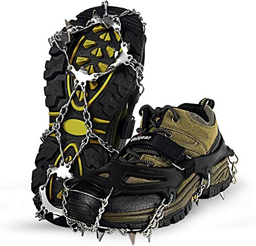 Unigear Crampones Ligero de Nieve Hielo 18 Puntas Dientes De Acero Zapatos Antideslizante para Cámping Alpinismo Acampada Senderismo Marcha Invierno (XL, Negro Oscuro)