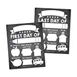 10 First and Last Day of School Interview Signs, Back Photo Booth Prop Chalkboard Style, 1st Preschool, Kindergarten, Pre K Grade Sign, Reusable Reversible Girl Boy Kid Child Year 8x10 Card Stock