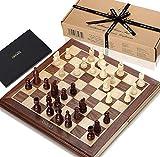 FOSTERSOURCE Juego de ajedrez El Verdadero Juego de ajedrez de Jaques, con un Tablero Plegable de Nogal y Jaques de sicómoro, comenzó en 1795