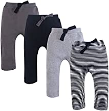 Touched by Nature Unisex Baby Organic Cotton Pants, Black Gray, 9-12 Months