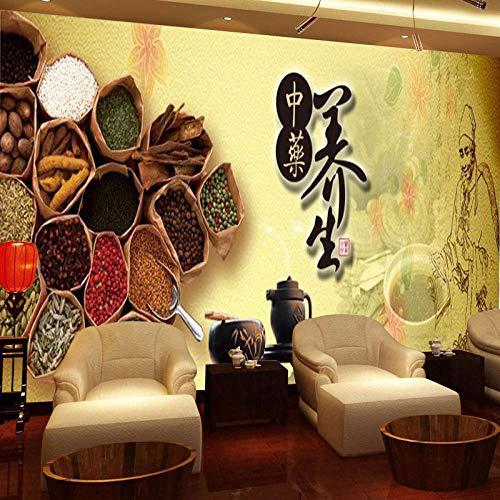 Ksnrang Salud Retro Medicina Tradicional China amamantado hasta la Salud Museo médico Chino Papel Tapiz Masaje Sala de Estar Vapor Fondo de Salud Pintura de Pared Papel Tapiz 430 * 300cm
