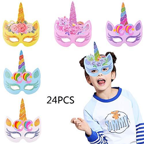 BESTZY 24 Piezas Máscaras de Unicornio