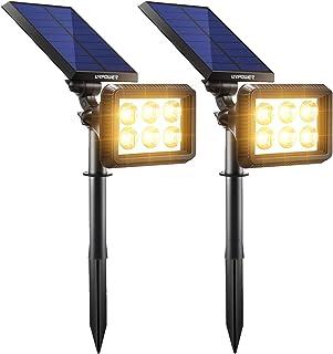URPOWER Solar Lights Outdoor Upgraded, 2-in-1 Waterproof Solar Lights Solar Landscape Lights Auto On/Off Solar Wall Lights Landscape Lighting Pathway Lights Solar Spotlight for Garden (Warm White)