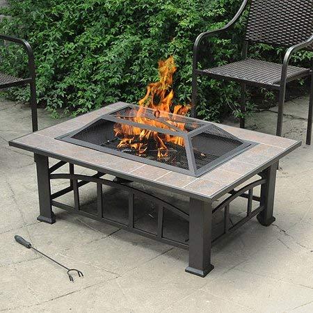Axxonn Elegant Rectangular Tile Top Fire Pit, Brownish Bronze