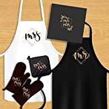 KEDRIAN Mr And Mrs Kitchen Set (5 Pieces), Couple Gifts, Wedding Gifts For Couple, Best Engagement Gifts For Couples, Mr And Mrs Gifts, Oven Mitts, Pot Holder, Aprons For Couples, His And Hers Aprons