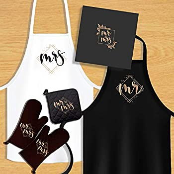 KEDRIAN Mr And Mrs Kitchen Set  5 Pieces  Couple Gifts Wedding Gifts For Couple Best Engagement Gifts For Couples Mr And Mrs Gifts Oven Mitts Pot Holder Aprons For Couples His And Hers Aprons