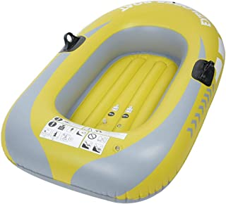 Heitamy Inflatable Boat, Single Person Heavy Duty Inflatable Boat One Person Rowing Air Boat Fishing Drifting Diving Tool for Surfing Traveling Yellow