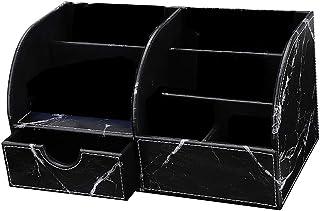Marble Vein Desktop Organizer, Doraking Non-Slip Middle PU Leather Marble Vein Desktop Storage Box Organizer Pencil Holder...