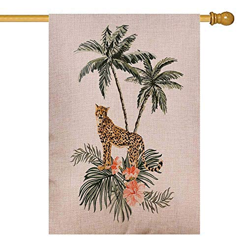 UIJDIAm Hedgehog Garden Flag,Home Yard Decorative 12X18 inches Beautiful Tropical Vintage Background with Palm Trees Double Sided Seasonal Garden Flags Christmas Kids Garden Flag Christmas Flag