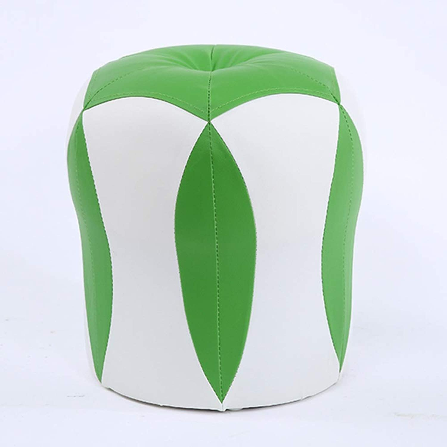 ZXQZ Stool Creative Solid Wood Sofa Stool 31x35cm Household Adult Round Stool (color   Green White)