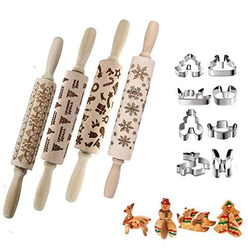 Weihnachten Präge Nudelholz,Geprägt Teigroller Nudelrolle mit Muster 3D Holz Nudelhölzer mit Ausstechformen Weihnachten Groß Set Perfekt für Bäcker 35 cm