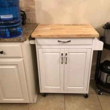 Mobile Small Kitchen Island Cart on Wheels with Solid Wood Top Two Cabinet Doors Drawer Spice Rack Towel Bar Two Tone Kitchen